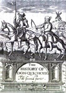 Don Quixote - Cover illustration for London edition, 1620. Translated by Thomas Shelton (1604–1620), translator. Public Domain.