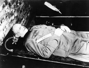 The body of Alfred Jodl after being hanged, Oct. 16, 1946. Photograph of the US Army. Public Domain.