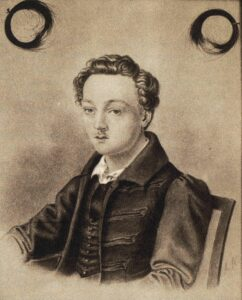 Georg Büchner (the original was in the possession of Büchner's family in Darmstadt; burned in 1944). Portrait drawing by Adolf Hoffmann (1814-1896) in 1835. Public Domain.