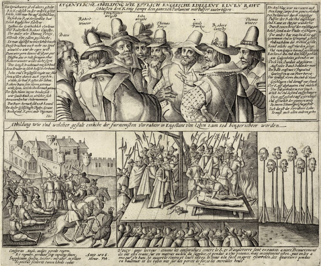 Group picture of The conspirators of the Gunpowder plot and scenes from their executions, cc 1606. Engraving by Crispijn of the Passe the Elder (c. 1564-1637), Dutch publisher and engraver, Collection: Österreichischen Nationalbibliothek, Wien, Österreich.