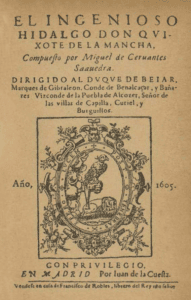 """Cover of the first edition of the first part of """"El ingenioso hidalgo Don Quixote de la Mancha, book by Miguel de Cervantes. Published in Madrid, in 1605, in the Juan de la Cuesta press. The printer's shield shows a falconry falcon, a sleeping lion and the motto """"Post tenebras spero lucem"""" (I await the light after the darkness). Public Domain."""