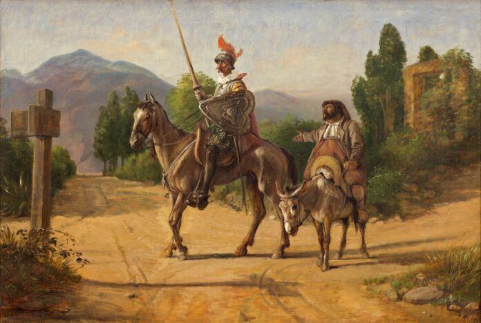 Don Quixote og Sancho Panza ved en skillevej / Don Quixote and Sancho Panza at a crossroad. Oil on canvas painted after 1847 by Wilhelm Marstrand (1810–1873), Danish painter and university teacher. Collection: Nivaagaards Malerisamling, Nivå, Denmark. Public Domain.