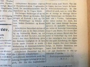 Indlæg om bladet fra D.U.I. Kilde: Social-Demokraten, 14.1.1919, s. 3, sp. 5-6.