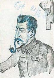 Bukharin tegnede også karrikatur-tegninger, her af Stalin 1929.