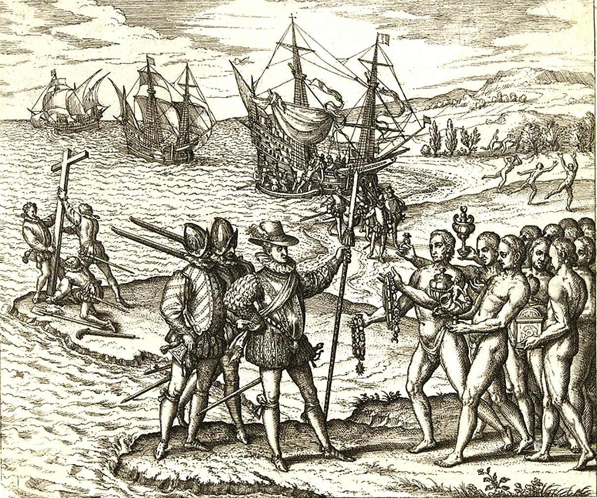 Columbus landing on Hispaniola, October 12, 1492; greeted by Arawak Indians. Litographi by Theodor de Bry (1528–1598), engraver, goldsmith, editor and publisher. based on eyevitnesses. Public Domain.
