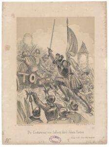 Die Erstürmung von Aalborg durch Johann Rantzau. Grevens Fejde Stormen på Aalborg 1534. Gravering af Christian Ludwig Wilhelm Heuer (1813-1890), litograf. Public Domain.