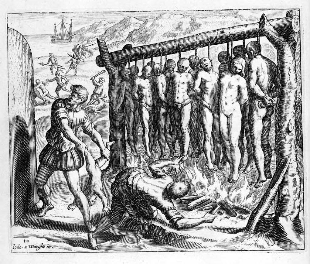 """""""They made gallows just high enough for the feet to nearly touch the ground … and they burned the Indians alive."""" Illustration by Theodor de Bry in """"A Short Account of the destruction of the Indies."""" Brevisima Relacion De La Destruycion De Las Indias; by: Bartolome De Las Casas; (1552) (1552 is original edition - this image is probably from the 1598 Latin translation). Designer: Joos van Winghe (1544–1603), Southern Netherlandish-German painter and draughtsman. Engraver: Theodor de Bry (1528–1598), Southern Netherlandish engraver, draughtsman, editor and publisher. Public Domain."""