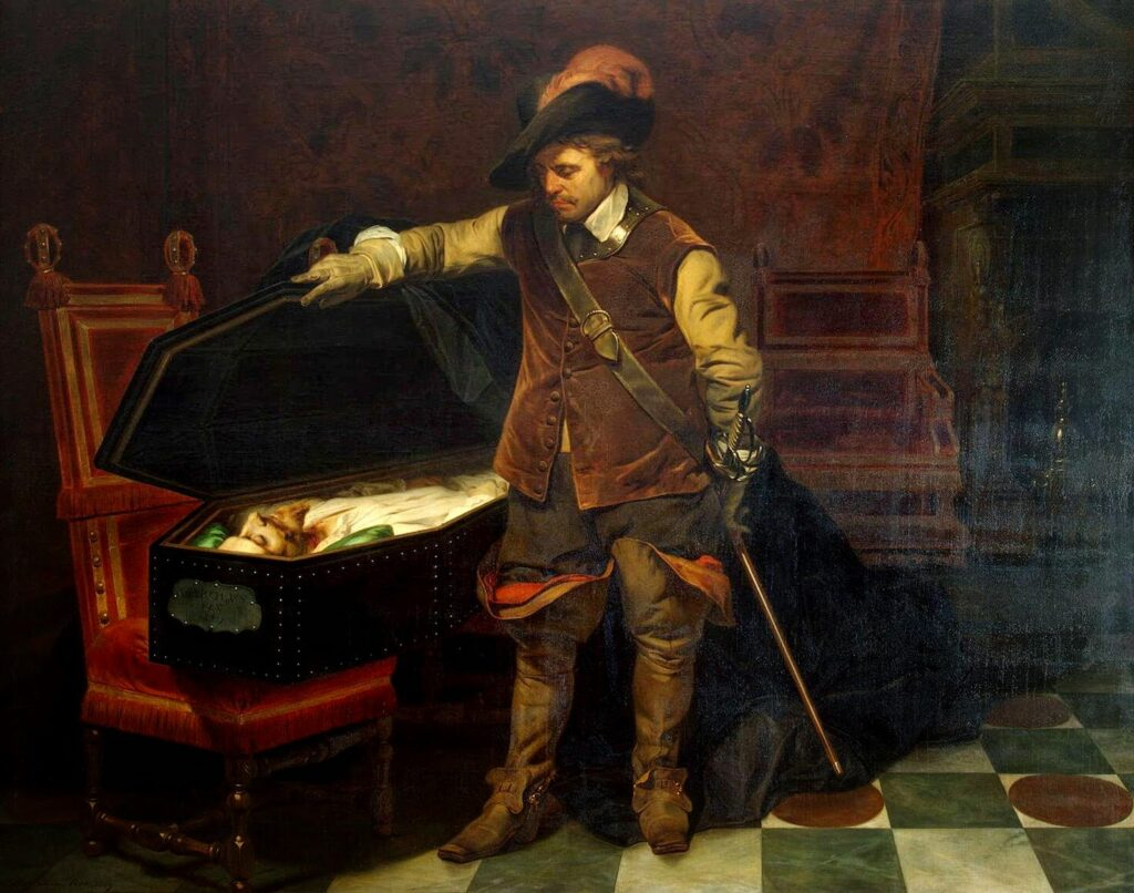 Cromwell and the corpse of Charles I. Oil on canvas painted 1831 by Paul Delaroche (1797–1856), French painter, artist and photographer. Collection: Kunsthalle Hamburg, Germany. Public Domain.