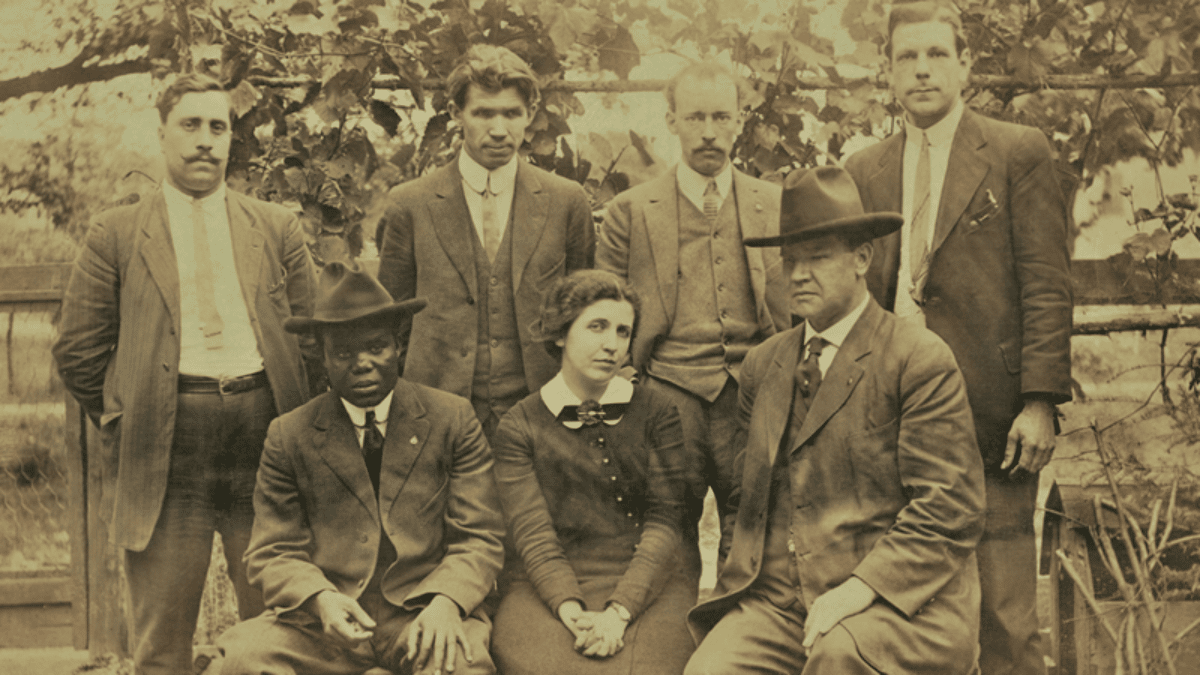 Hubert Harrison, seated at left, and International Workers of the World leaders Elizabeth Gurley Flynn and Bill Haywood, seated right, organized the 1913 Paterson Silk Strike. Photo: Unidentified / American Labor Museum. Public domain. Source: American Labor Museum.