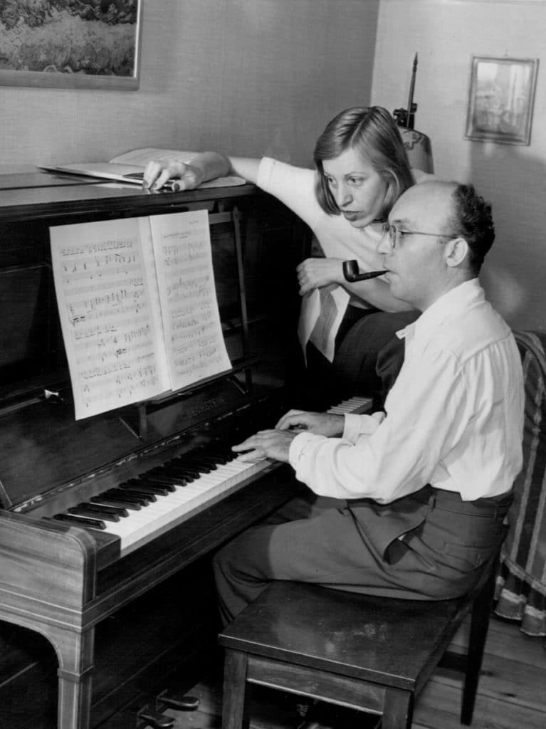 Kurt Weill and Lotte Lenya at home August 17, 1942. Photo: Wide World Photos. Public Domain.