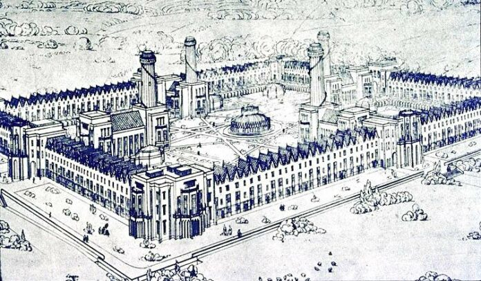 New Harmony as imagined by Robert Owen and drawn by an English architect. Gabled houses and futuristic buildings were to be on a square enclosing botanical gardens. Public Domain.