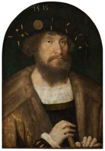 Portræt af Christian II (1481-1559). Panelmaleri fra 1514-1515 af Michael Sittow (circa 1469–1525), Estisk maler og tegner. Kollektion/foto: Statens Museum for Kunst, København. Public Domain.