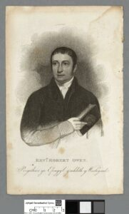Robert Owen, 1822. Stipple engraving by unknown artist. Collection: National Library of Wales. Public Domain.