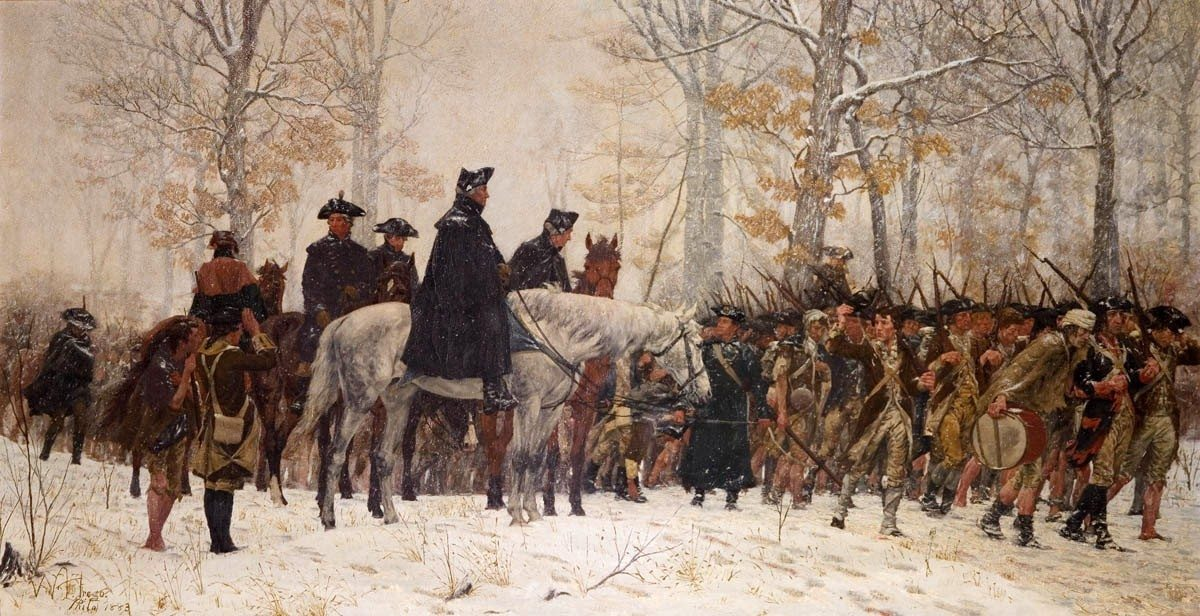 George Washington leading the Continental Army to Valley Forge in 1777. Oil on canvas painted in 1883 by William B. T. Trego (1858-1909), US painter. Collection: Museum of the American Revolution, Philadelphia, USA. Public Domain.