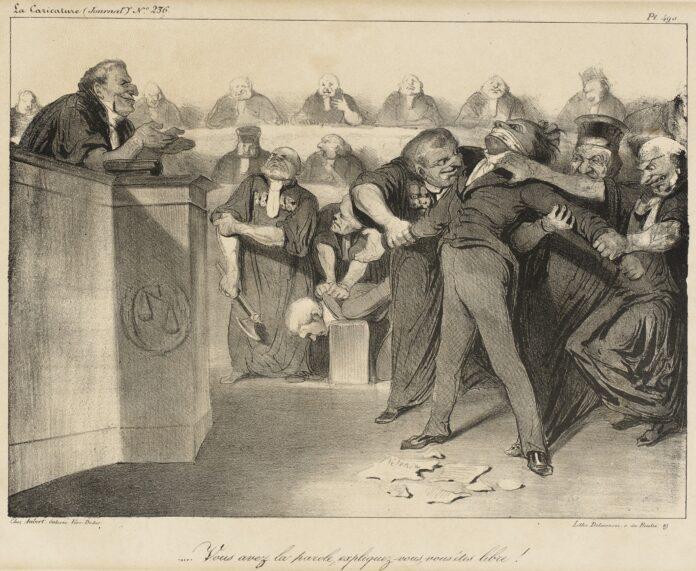 Vous Avez La Parole, Expliquez-Vous, Vous êtes Libre! [You Have The Word, Explain Yourself, You Are Free!] A lithograph by Honoré Daumier (1808–1879) in 1835. The artwork is from the satiric newspaper