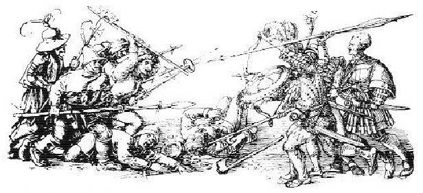 Johan Rantzau (1492-1565) feltherre med tyske lejesoldater, hyret af Christian d. III til at nedkæmpe bondeoprør i Jylland. I lyntempo rykkede han frem via Kolding, Varde, Randers og til sidst Aalborg, hvor Skipper Clement havde forskanset sig. Aalborg indtages efter få dage 18 december 1534, og mere en 2000 mennesker slås ihjel. Der er fri plyndring for lejesoldaterne bagefter. Skipper Clement henrettes i 1536. Public Domain.