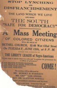 Annoncering af et massemøde 12 juni 1917, hvor Hubert Harrison taler