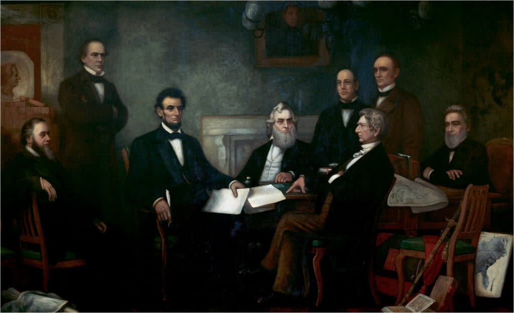First Reading of the Emancipation Proclamation by President Lincoln, 1864. Oil on canvas painting by Francis Bicknell Carpenter (1830–1900). Shown (left to right): Edwin M. Stanton, secretary of war (seated); Salmon P. Chase, secretary of the treasury (standing); Abraham Lincoln; Gideon Welles, secretary of the navy (seated); Caleb Blood Smith, secretary of the interior (standing); William H. Seward, secretary of state (seated); Montgomery Blair, postmaster general (standing); Edward Bates, attorney general (seated). Also shown are: Andrew Jackson, former president (painting centre); Simon Cameron, former secretary of war (painting left). Collection: United States Capitol. Current location: West Staircase, Senate Wing. History: 1877: purchased by Elizabeth Thompson from Francis Bicknell Carpenter for $25,000. 12 February 1878: given to U.S. Government by Elizabeth Thompson. Public Domain.