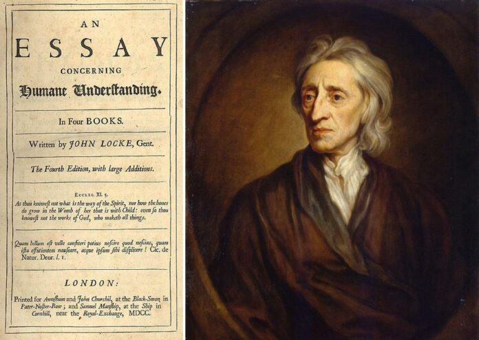 Left: Title page for the fourth edition of John Locke's An essay concerning human understanding. 4th ed. London : Printed for Awnsham and John Churchil, and Samuel Manship, 1700. Collection: University of Sydney, Rare Books Library, Australia. Public Domain. Right: Portrait of John Locke. Oil on canvas painted i 1697 by Godfrey Kneller (1646–1723), German painter, draughtsman, engraver and miniaturist. Collection: Hermitage Museum, The Winter Palace, St. Petersburg, Rusland. Public Domain.