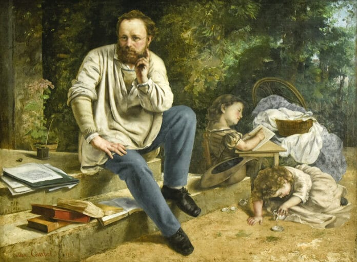 Pierre-Joseph Proudhon and his children in 1853 - Petit Palais Paris. Painted in 1853 by Gustave Courbet (1819-1877). Photo taken and uploaded by Paul Hermans. Public Domain.