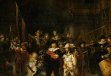 The Night Watch. The Company of Frans Banning Cocq and Willem van Ruytenburgh. Oil on canvas painted 1642 by Rembrandt van Rijn (1606–1669). Collection: Rijksmuseum, Amsterdam, Nederlands. Public Domain.