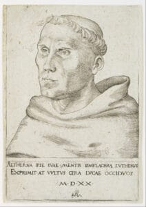 Martin Luther, Bust in Three-Quarter View. Engraving, on laid paper with watermark, from 1520 made by Lucas Cranach the Elder (1472–1553), German painter, draughtsman, printmaker and court painter. Collection/Credit: Museum of Fine Arts, Houston, USA. Public Domain.