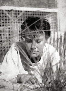 Truman Capote's photo portrait of Harper Lee from the back cover of the first-edition dust jacket for Lee's novel To Kill a Mockingbird, 1960. Photo credited to Truman Capote. Retouched by Brandt Luke Zorn. Public Domain.
