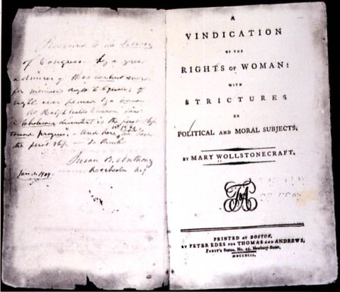 Mary Wollstonecraft. Vindication of the Rights of Woman: with Strictures on Political and Moral Subjects. Boston: Peter Edes for Thomas and Andrews, 1792, frontispiece. Rare Book and Special Collections Division, Library of Congress. Public Domain.