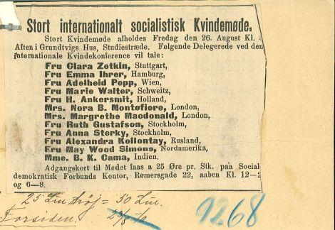 Plakat for internationalt kvindemøde i Grundtvigs hus 26. august 1910