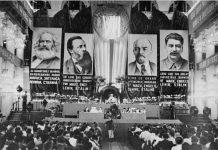 Kommunistisk Internationales vigtige 7. (og sidste) kongres fastlægger folkefrontsplitikken. se 25. juli nedenfor. Photo: Unknown. Public Domain.