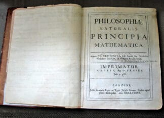 Sir Isaac Newton's own first edition copy of his Philosophiae Naturalis Principia Mathematica with his handwritten corrections for the second edition. The first edition was published under the imprint of Samuel Pepys who was president of the Royal Society. By the time of the second edition, Newton himself had become president of the Royal Society, as noted in his corrections. Collection: The Wren Library of Trinity College, Cambridge, England. Photo: © Andrew Dunn, 5 November 2004. (CC BY-SA 2.0).