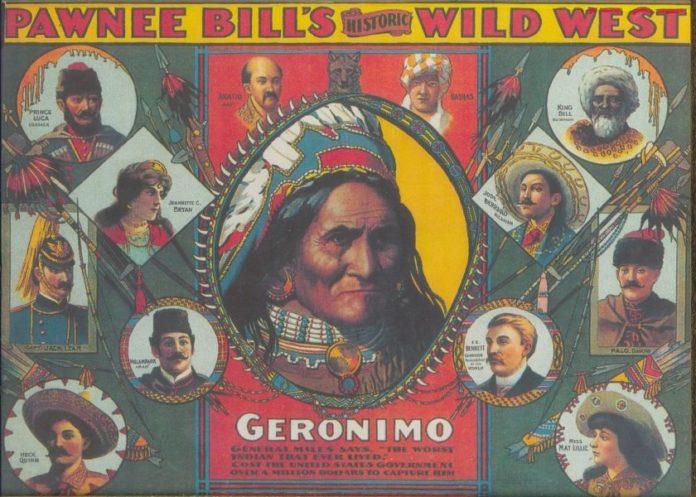 Denne plakat af Bowl Show blev offentliggjort i 1905 med den berømte Apache-kriger, Geronimo, og andre deltagere.