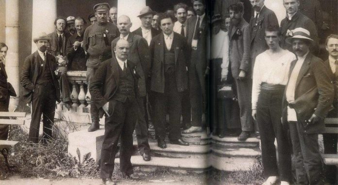 M. N. Roy (center) with Vladimir Lenin and Maxim Gorky and other delegates to the second Congress of the Communist International (1920).