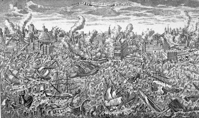 Lisbon, Portugal, during the great earthquake of 1 November 1755. This copper engraving, made that year, shows the city in ruins and in flames. Tsunamis rush upon the shore, destroying the wharfs. The engraving is also noteworthy in showing highly disturbed water in the harbor, which sank many ships. Passengers in the left foreground show signs of panic. Original in: Museu da Cidade, Lisbon. Reproduced in: O Terramoto de 1755, Testamunhos Britanicos = The Lisbon Earthquake of 1755, British Accounts. Lisbon: British Historical Society of Portugal, 1990. Artist: Unknown. Public Domain.