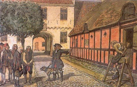 Bonden på træhesten. Planche efter akvarel ca. 1925 af Rasmus Christiansen (1863-1940), dansk tegner og maler. public Domain. Kilde: Dansk Landbrugsmuseeum.