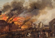 25. juni 1817: Oprøret i Tug-, Rasp- og forbedringshuset. Maleri af J.C. Dahl. Branden i Tugthuset i 1817. I forgrunden Christianshavns Kanal, Overgaden Neden Vandet.