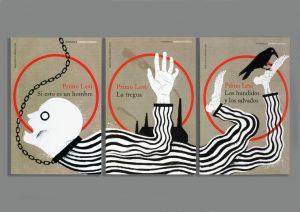 Bogomslag til italienske udgaver af Primo Levi-bøger om KZ-lejre, «Trilogía de Auschwitz». Design: Lucrecia Demaestri/Planeta Arte & Diseño. Illustration: Adrià Fruitós.