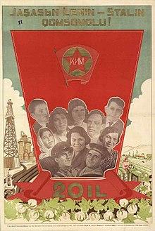 "1919 plakat fra YCI (1938). Kilde: Source: <a href=""https://commons.wikimedia.org/wiki/File:Poster_of_Azerbaijan_1938._Komsomol.jpg"">Wikimedia Commons</a>."
