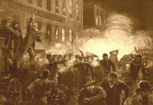 Sketch of May 1886 Haymarket riot, from Harper's Weekly, May 15, 1886. Public Domain.