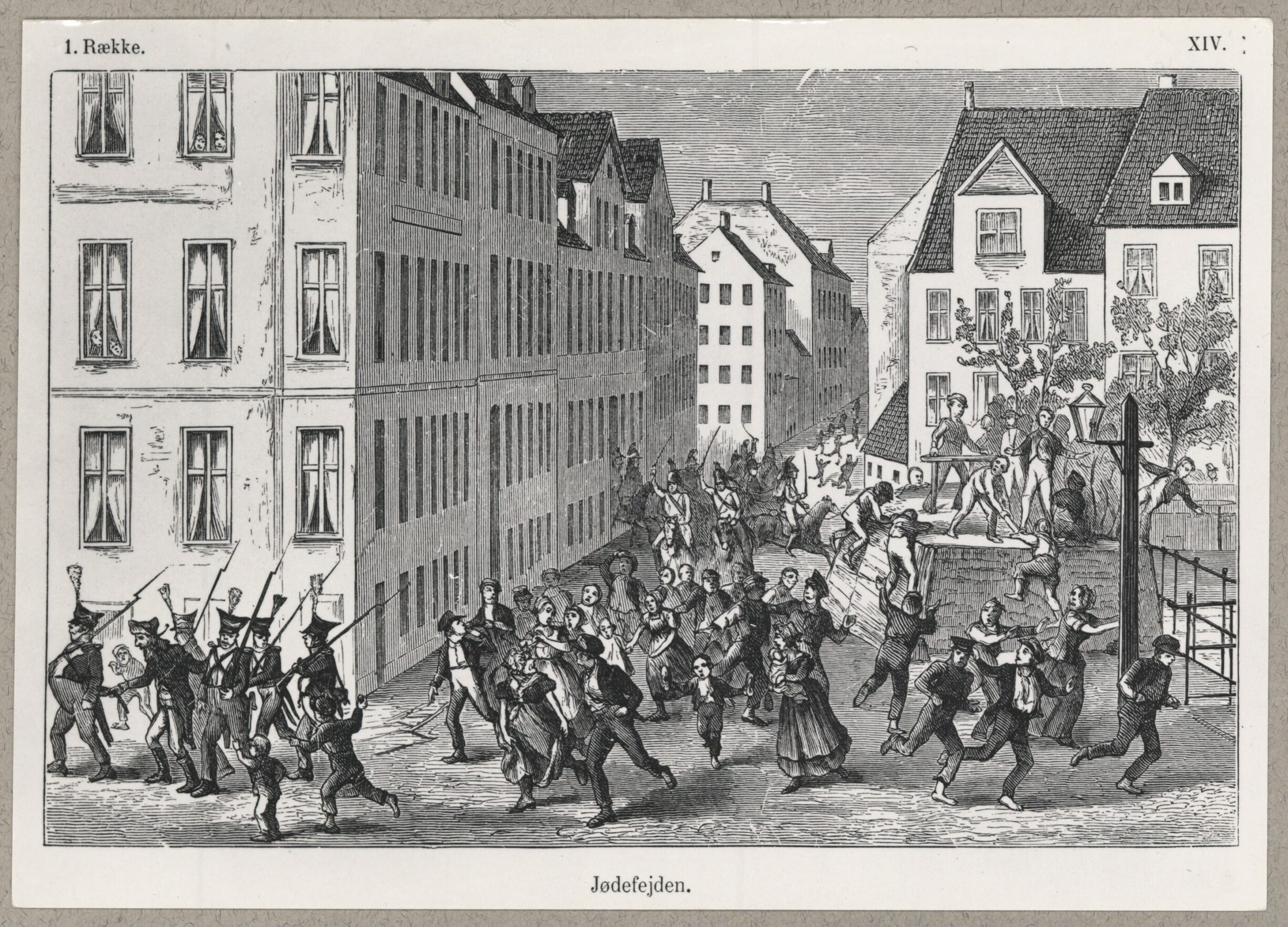 Jødefejden 1819 i København. Tegning af P. Klæstrup (1820-1882), tegner. (CC BY-NC-ND 4.0) Fra det kongelig Biblioteks Billedsamling.