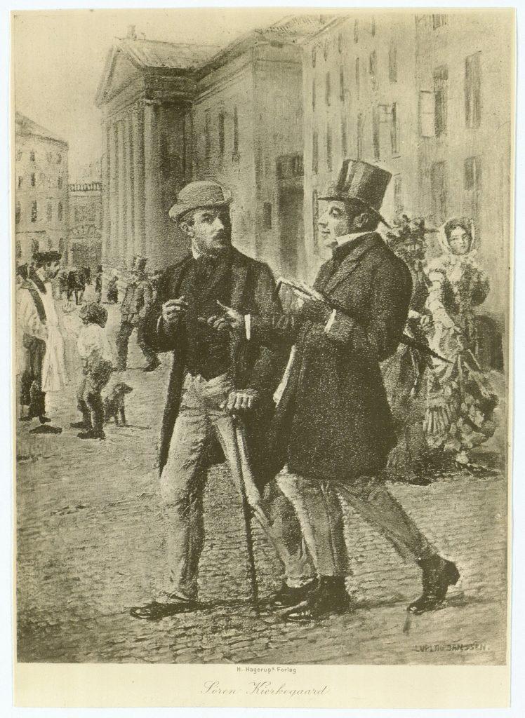 Søren Kierkegaard i Samtale med den unge Lorens Frølich. Fotografi efter grafik af Luplau Janssen (1869-1927), maler. (CC BY-NC-ND 4.0).