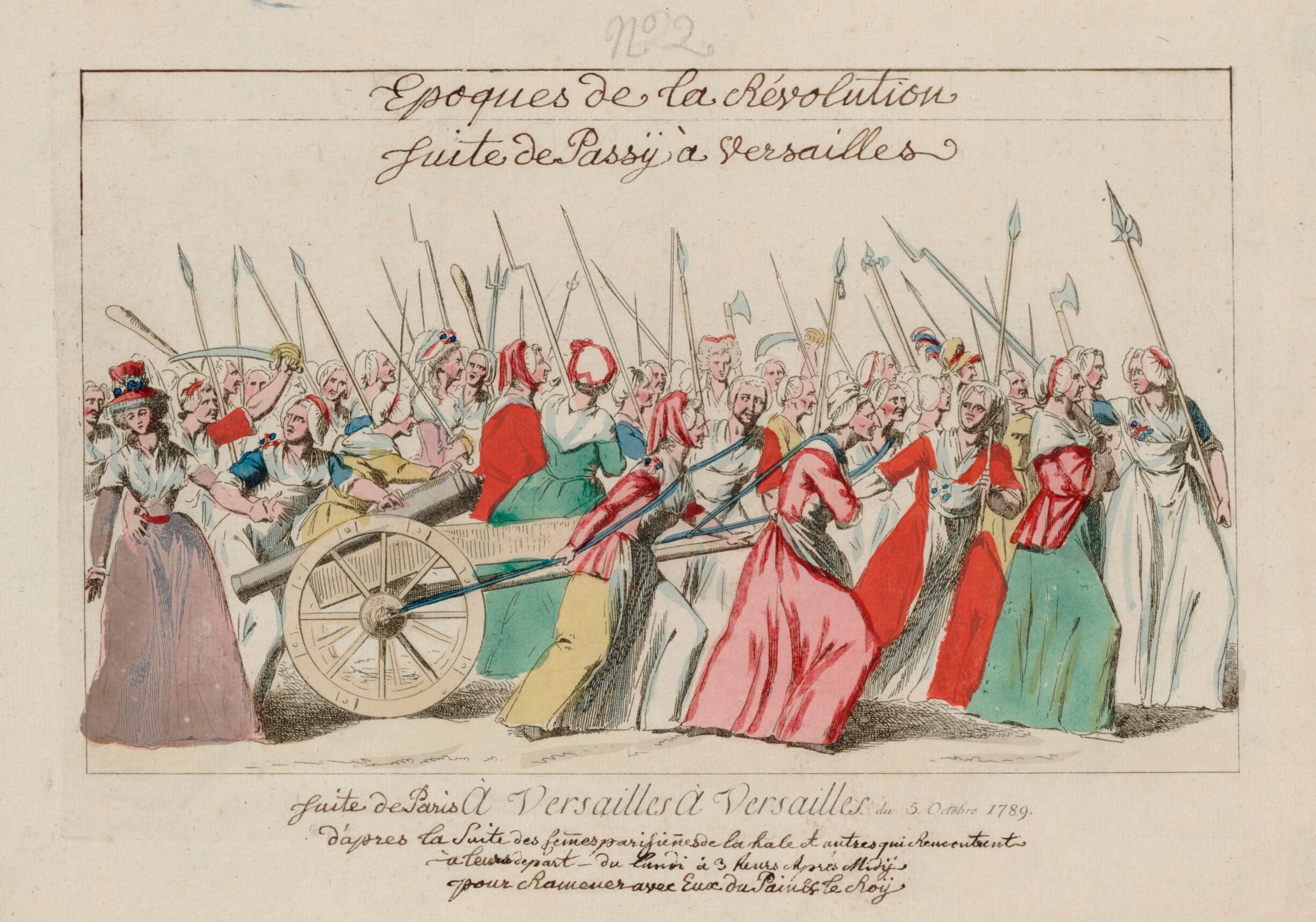 Women's march on Versailles October 5, 1789, An Attack on Versailles performed by the rioting women of Paris due to high prices on bread. A contemporary illustration of the Women's March on Versailles. October 5 or 6, 1789. Artist: Unknown. Collection: Gallica Digital Library. Public Domain.