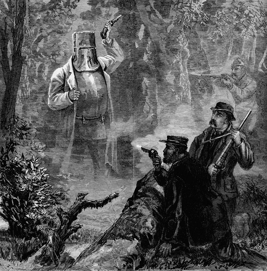 """""""A strange apparition: Ned Kelly's Fight and Capture"""", wood engraving, printed in The Age. 17 July 1880. Gravør: James Waltham Curtis (1839-1901). Public domain."""