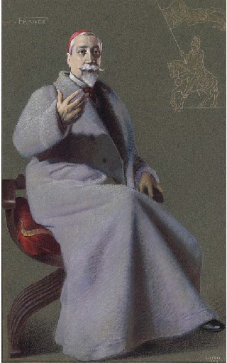 """Caricature of Anatole France. Caption read """"The Greatest Living Frenchman"""". Accompanying biography in Vanity Fair read """"His French was at once acknowledged to be finer than Renan's; as easy and as polished as the elder master; even more rhythmic and shot through with delicious irony.... and curiously perfect literary treatment.... Anatole France is the greatest of living Frenchmen - the greatest writer in Christendom today"""". Original pastel, watercolour and bodycolour. Published in Vanity Fair, 11 August 1909. Downloaded from Christie's. Artist: Jean Baptiste Guth (1855–1922). Public Domain."""