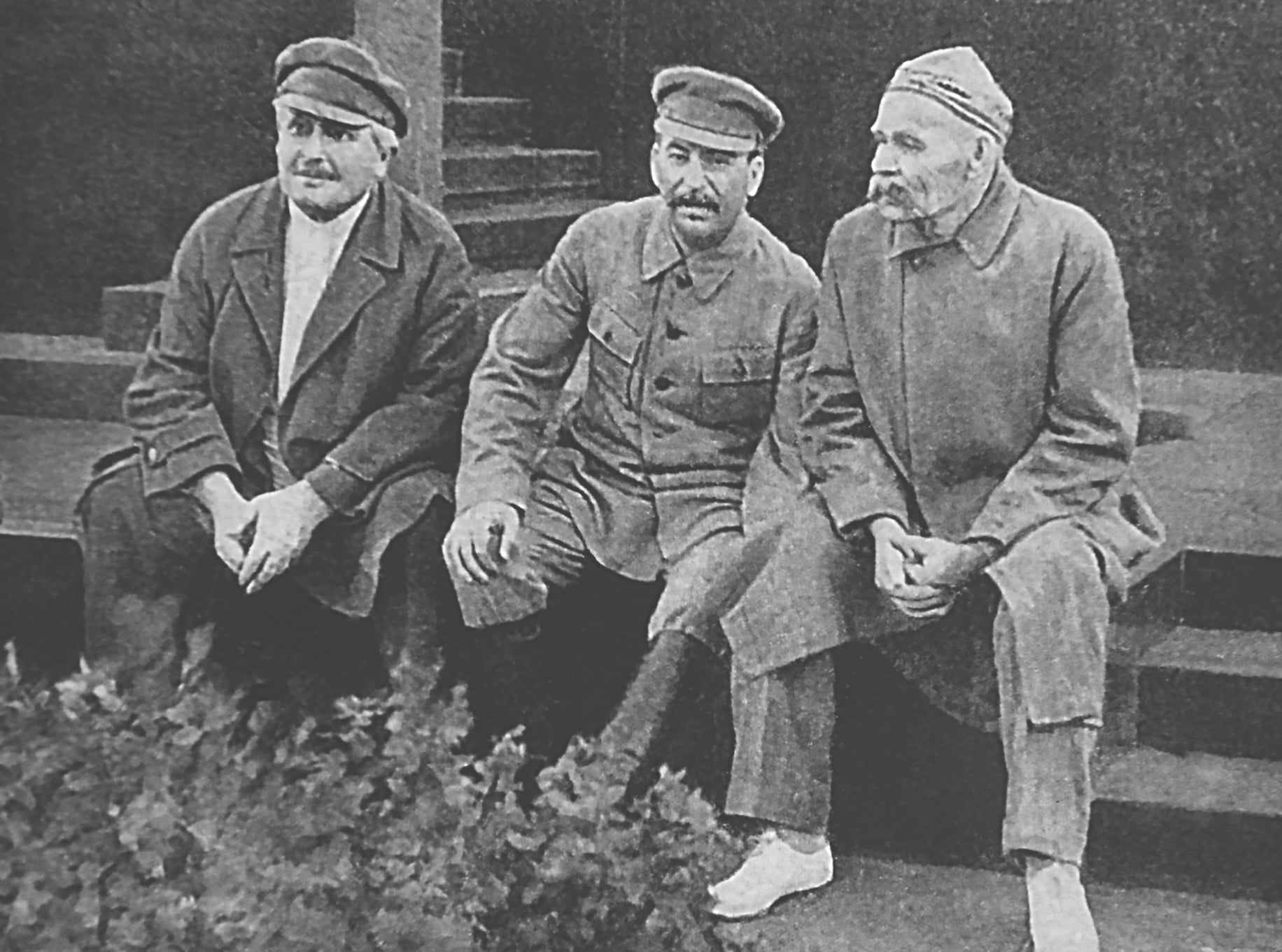 Avel Enukidze (1877—1937), Joseph Stalin and Maxim Gorky celebrate 10th anniversary of Sportintern. Red Square, Moscow USSR. The image taken Jul 21 1931. 10th anniversary of Sportintern celebration Red Square Moscow USSR. Photo: Unknown author. Public Domain.