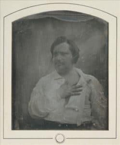 The original daguerrotype of Honoré de Balzac, taken in 1842 by Louis-Auguste Bisson (1814–1876), French photographer and chemist. Public Domain.