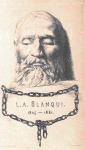 Auguste Blaqui mortuary mask. Masque mortuaire (Gravure de F. Braquemond) Public Domain.