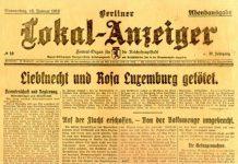 Berliner Lokal-Anzeiger 16 janauar 1919 om mordet på Karl Liebknecht og Rosa Luxemburg. Se nedenfor 15. januar 1919.
