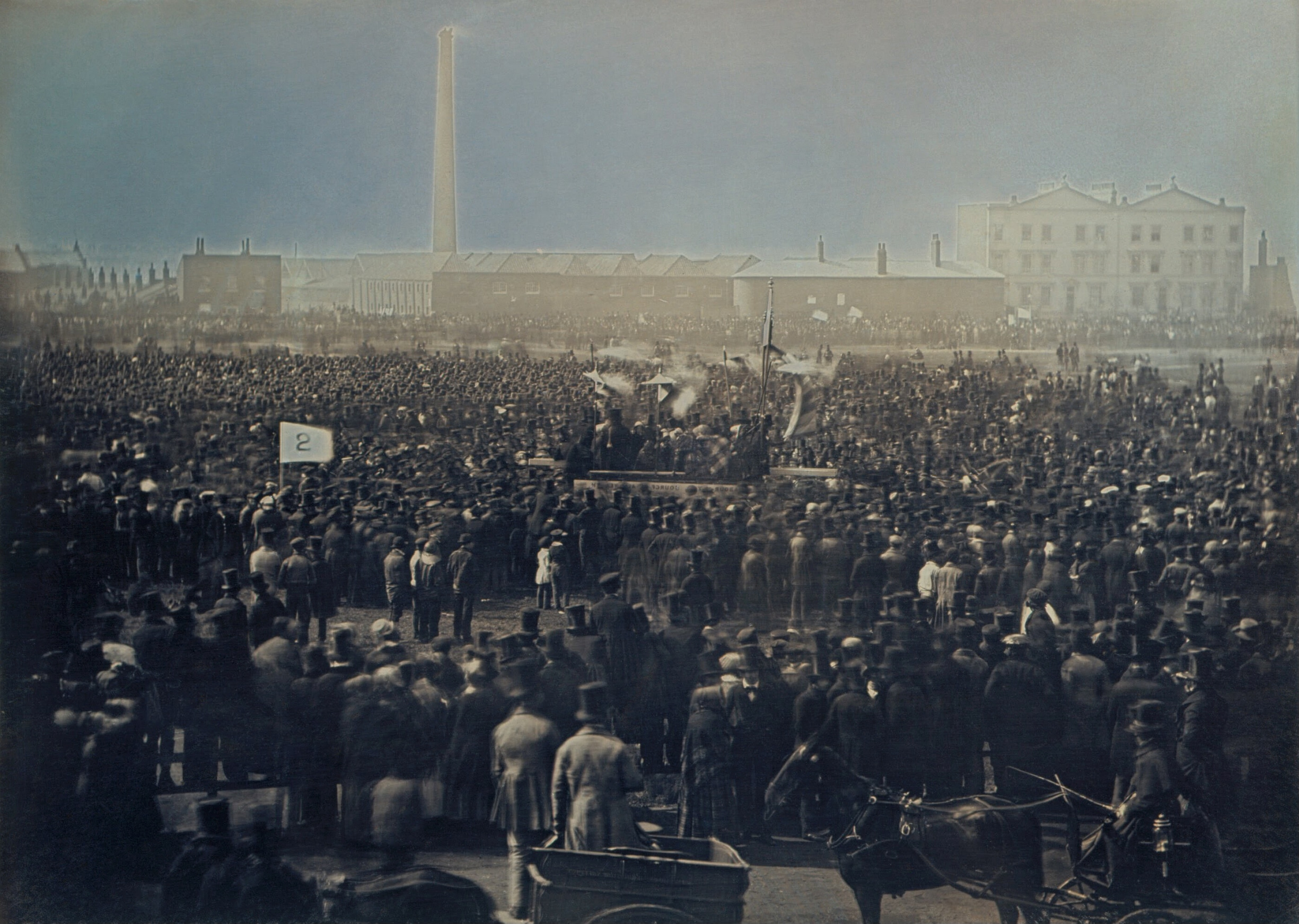 View of the Great Chartist Meeting on Kennington Common - 10 April 1848. Photo (Daguerreotype) by William Edward Kilburn (1818-1891). Restored by Bammesk. Public Domain.