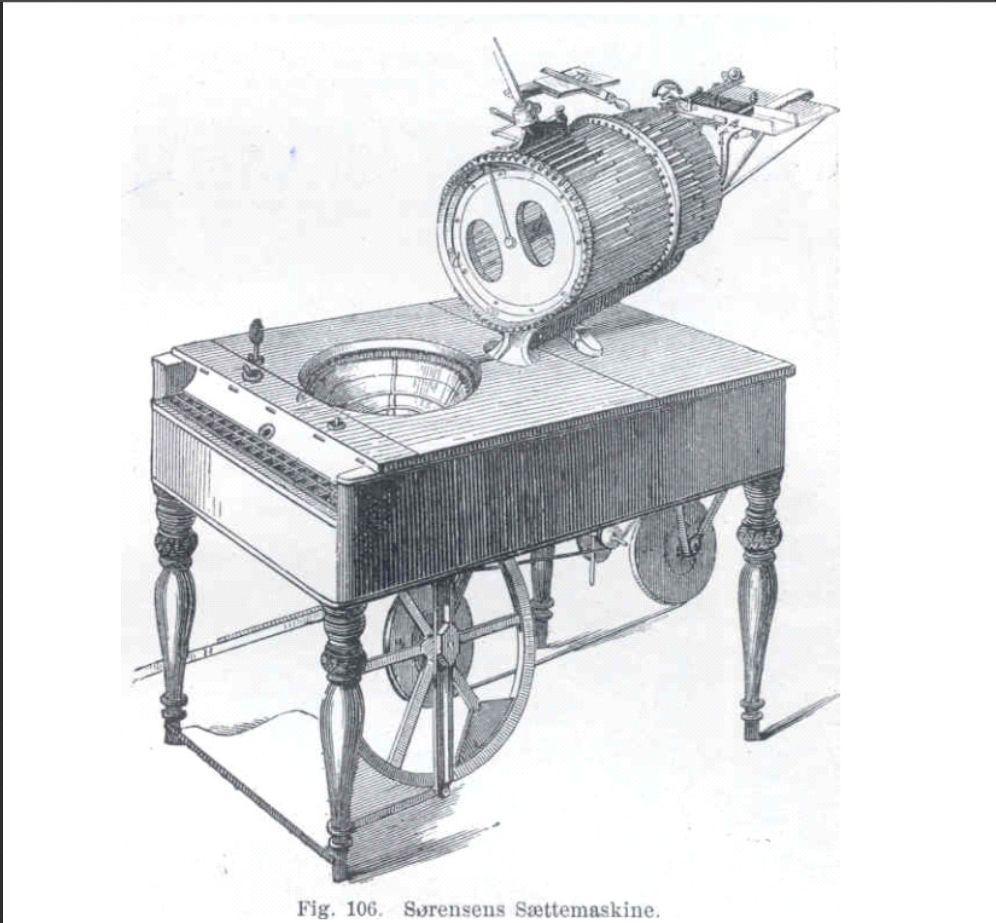 Typografen Chr. Sørensens avancerede sættemaskine var udstillet i Chrystal Palace1851, hvor den vakte berettiget opsigt. Det var den teknologiske udvikling med den gennemgribende mekanisering af bogtrykket, som skabte grundlaget for at udvikle den populære masseoffentlighed gennem de store oplag efter 1850. Dermed kunne teknikkens fremskridt i scenesættes og nå ud til et langt større publikum på land og i by, end det tidligere havde været tilfældet. Kilde: André Lütken, Helge Holst: Opfindelsernes Bog,Bd. 3. Kbh., 1912, s. 159